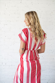 Good For Us Striped Maxi Dress Red