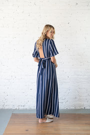 En Route Striped Maxi Romper Navy