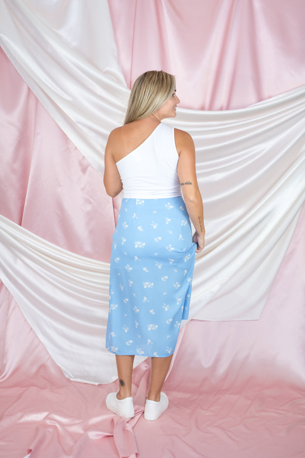 Summer Plans Midi Skirt Blue