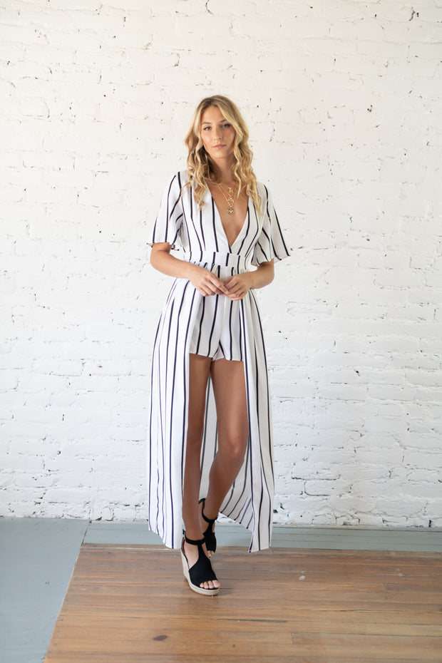 En Route Striped Maxi Romper White