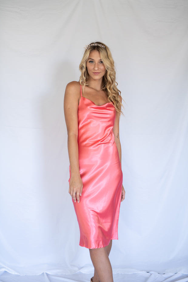 Make It Satin Midi Dress Coral