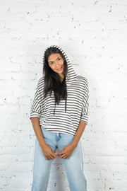 Going Forward Striped Hoodie White