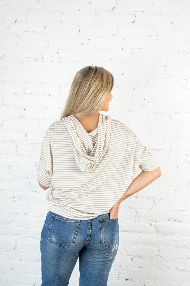 Going Forward Striped Hoodie Taupe