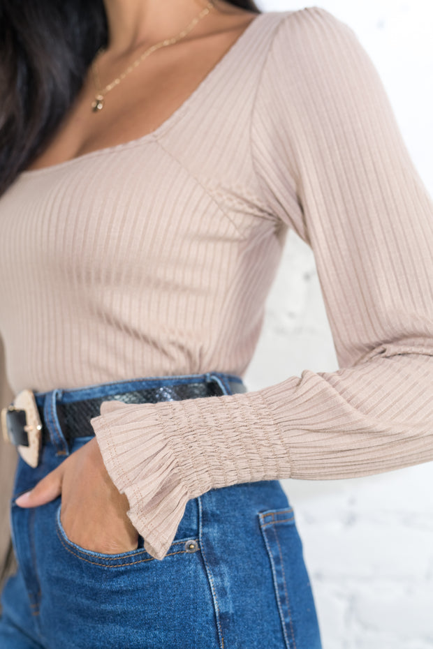 Roll With Me Ribbed Top Taupe
