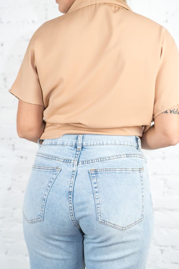 Clarissa Wide Leg Cropped Jeans Light