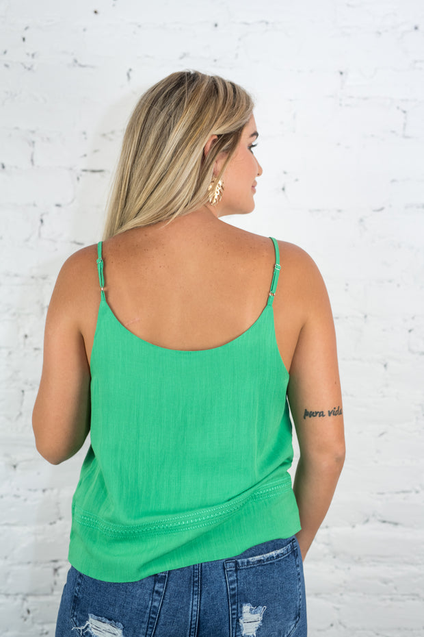 Get Used To Stitch Tank Top Green