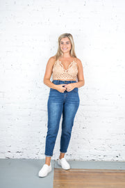 Abbey High Waisted Mom Jeans Dark Wash