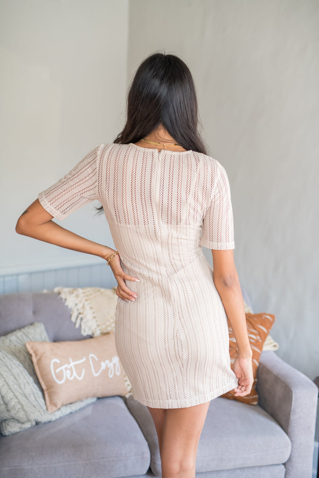 Touch of Texture Overlay Dress Taupe
