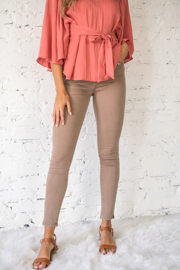Sitting Pretty Skinny Jeans Taupe