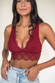 The Dreamer Lace Bralette Burgundy