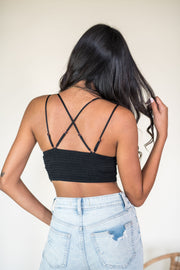 A Bit of Boho Crochet Bralette Black