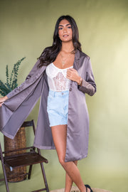 Satin Attraction Trench Coat Mocha