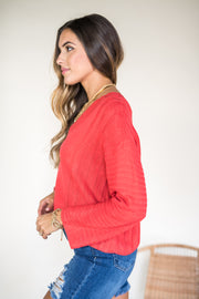Stitch Perfect Tie Back Sweater Red