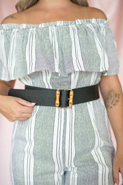 Bamboo Buckle Wide Belt