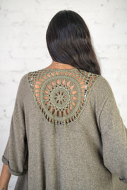 Out and About Crochet Kimono Olive