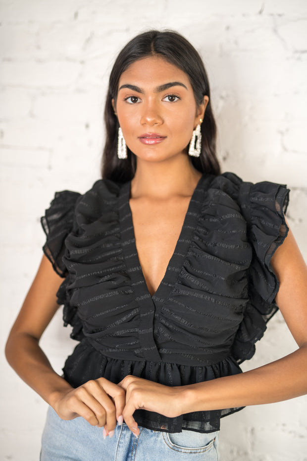 Never Too Late Ruffle Crop Top Black