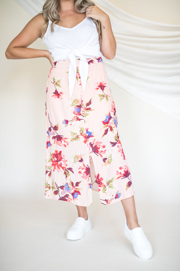 Here To Sway Floral Midi Skirt Blush