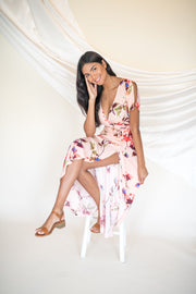 Here to Sway Floral Maxi Dress Blush