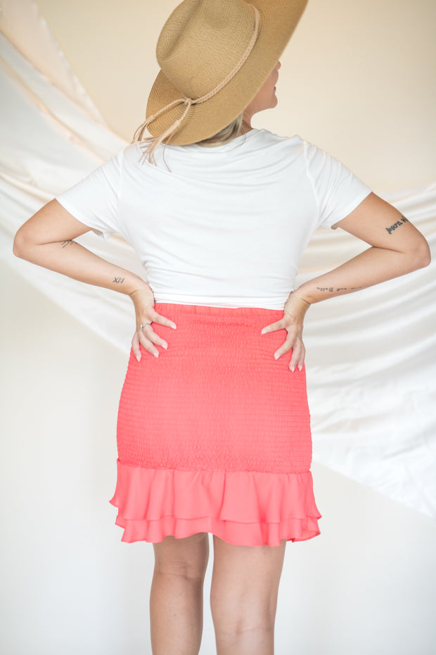 Love Like That Smocked Skirt Coral