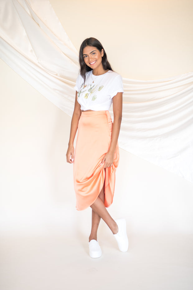 Passing Through Satin Midi Skirt Orange