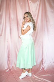 Passing Through Satin Midi Skirt Mint