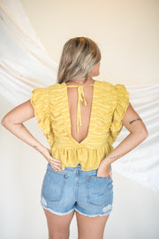 Never Too Late Ruffle Crop Top Yellow