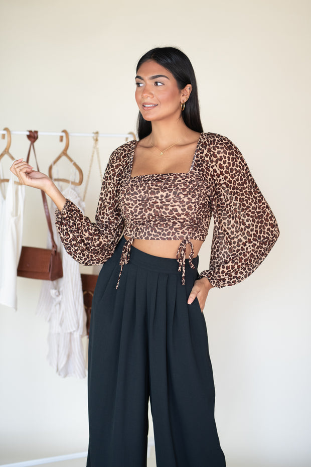 Prowl Be There Crop Top Leopard
