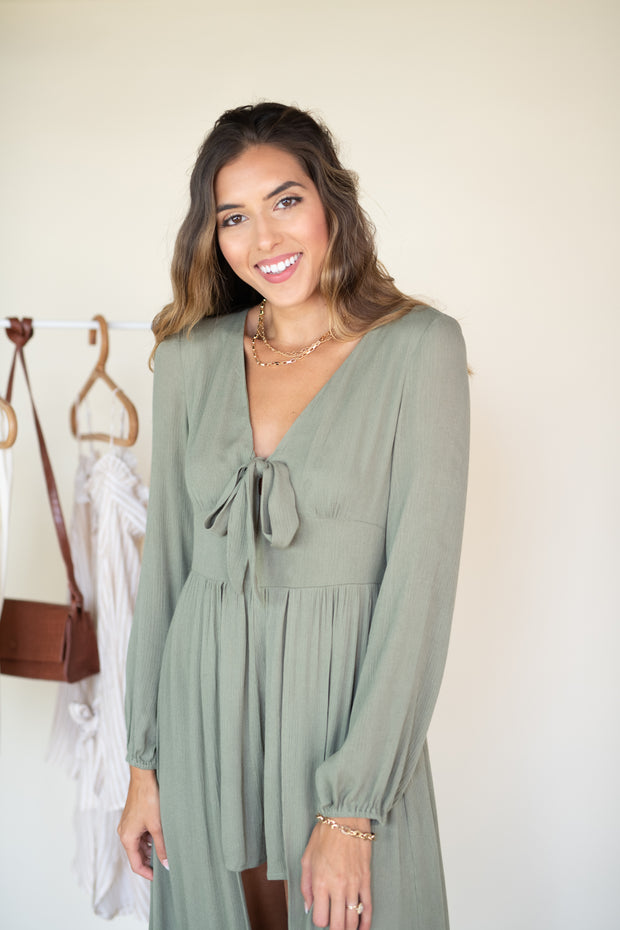 Rush of Style Maxi Romper Olive