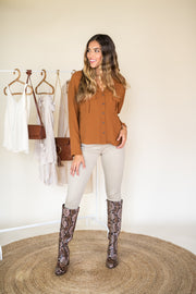 Live For Now Button Up Top Camel