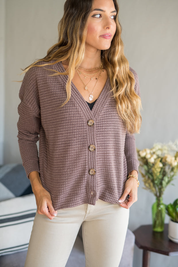 Skip a Beat Cardigan Top Mocha