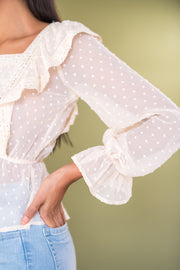 Give Me Frills Peplum Top Ivory