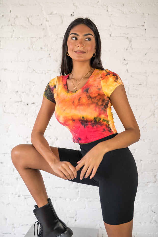 Losing Control Tie Dye Top Orange