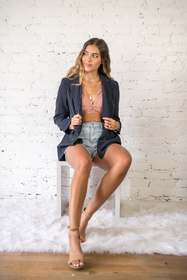 Along Those Lines Blazer Navy