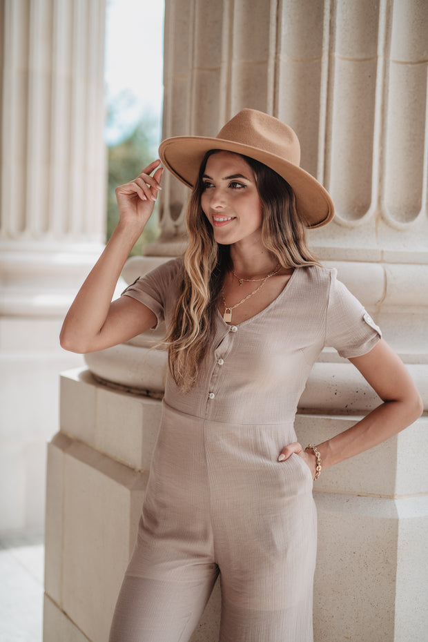 Across the City Tie Front Jumpsuit Taupe