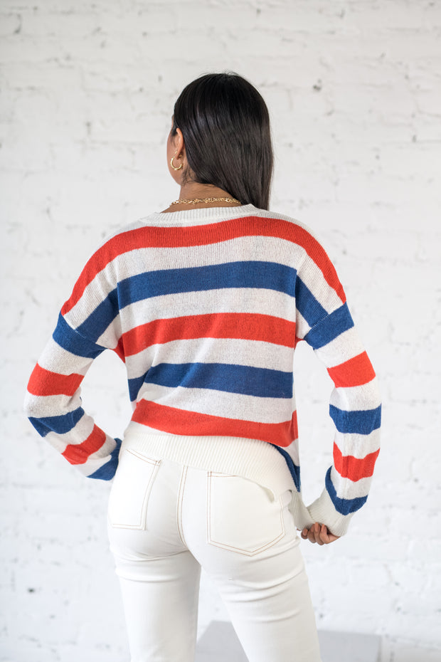 Stripe Hype Sweater Red Blue