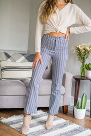 Stripe It Up Straight Pants Grey