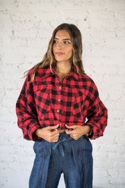 Plaid Rush Crop Jacket Red