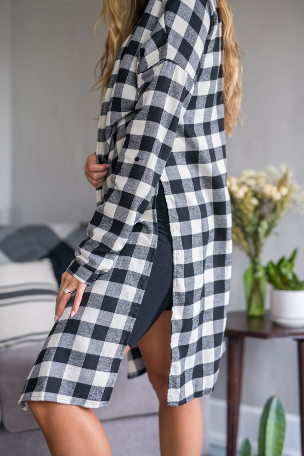 Ready or Not Plaid Tunic Black