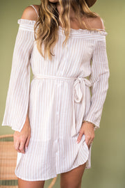 In The Morning Striped Dress Taupe