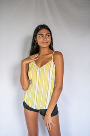 Full Color Fab Striped Tank Lime