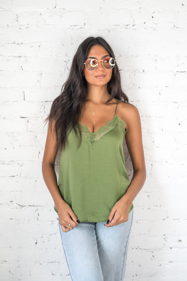 What a Frill Lace Tank Top Olive