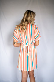 Stuck In Tropic Striped Dress Peach