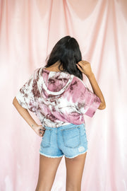 Hood To See You Tie Dye Top Mauve