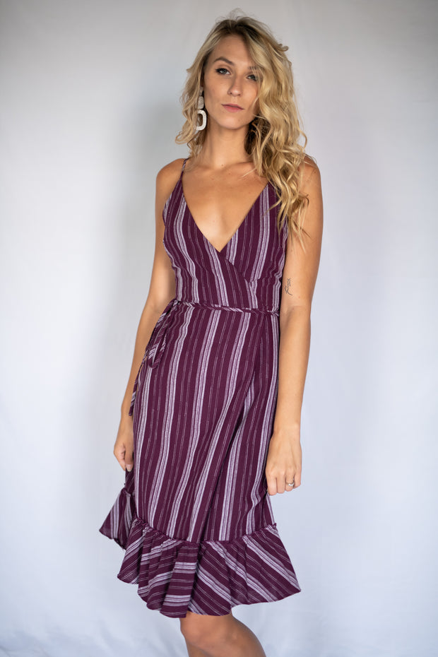 On The Dock Striped Dress Plum