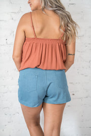Second Guess Cotton Shorts Blue