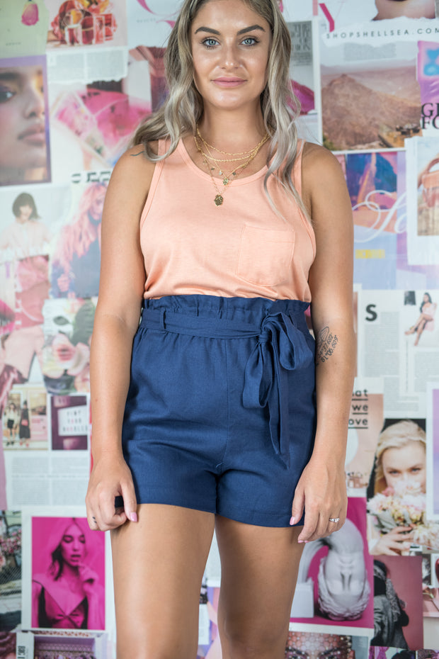 Summer Somewhere Paperbag Shorts Navy