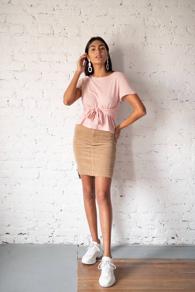 My Best Life Corduroy Skirt Taupe