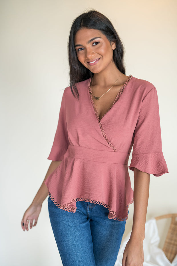 Me and You Peplum Top Mauve