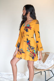 Stop The Noise Floral Dress Mustard