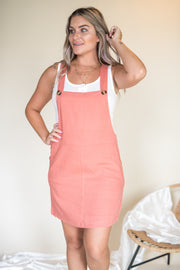 Want Your Love Overall Dress Rose
